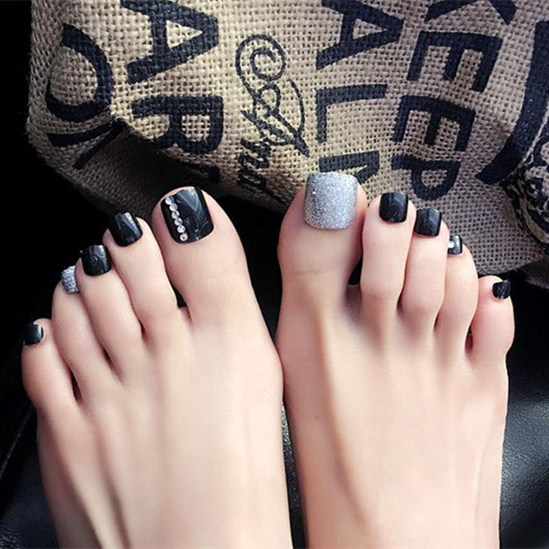 24pcs-set-j28-silver-shiny-nails-full-cover-toenail-black-false-nail-acrylic-tips-patch-decoration