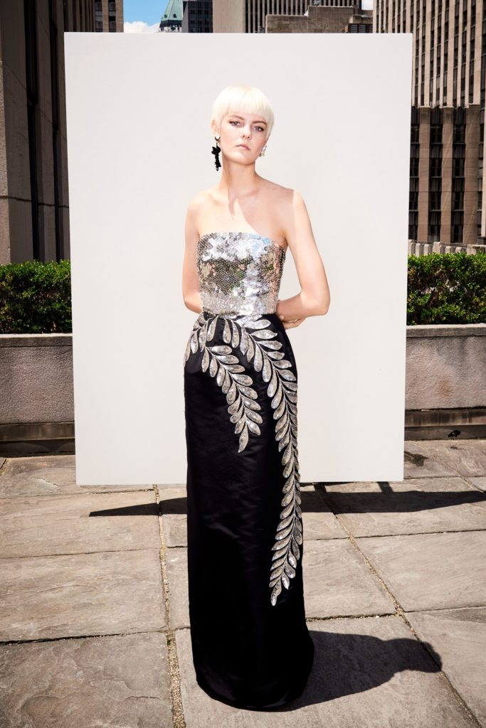 oscar-de-la-renta-strapless-sequin-leaf-column-gown