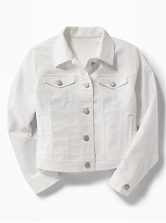 Clean-Slate White Denim Jacket for Girls - Cream
