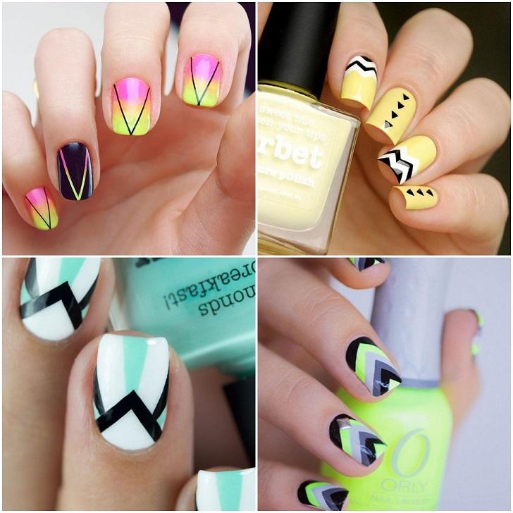 beautiful-summer-nail-design-ideas-geometric-shapes