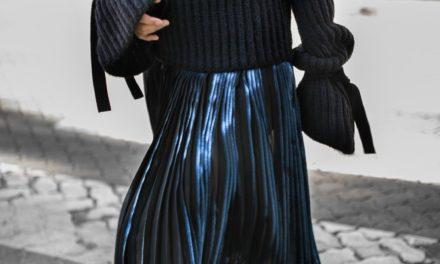 Нов тренд за празниците бляскави поли и пуловери